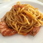 Tagliolini with prawns and crab meat in light tomato sauce