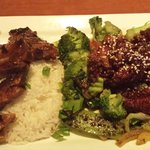 korean bbq rib and hoisin chicken on rice and veggies (rice and veggies - undercooked)