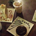 carrot cake, chocolate salted caramel tart, caramel frapp, hot chocolate