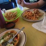 chips and salsa with a club sandwich and taco salad