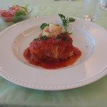 メインのロールキャベツ トマトソース