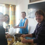 In the kitchen where you receive your welcome from the family, and when we made sarma with our h