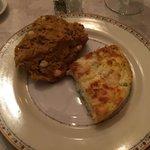Veggie frittata and a huge, moist pumpkin and white chocolate scone! Best scone I've ever had!