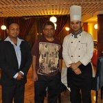 Nandu in Coat and neggi as Chef