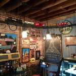 Interior at The Whistle Stop near old fashioned counter