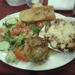 homemade lasagne and garlic bread with creamy garlic potatoes and fresh salad :-)