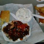Rib tip dinner platter with chips and potato salad. LOVE! $9.69