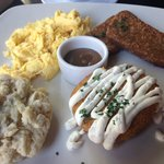 Southern Brunch with fried green tomatoes