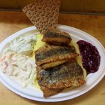Fried herring with mashed potatoes, dill mayonnaise, lingonberries and creme fraiche salad