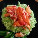 Lobster with green risotto - delicious.