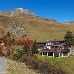 Alpenblick mit Sonnenterrasse und Herbstlaub
