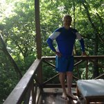 Getting ready for a scuba dive after a great breakfast prepared by Rosaline