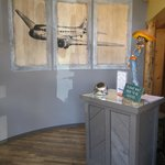Welcoming aviation themed decor lines our walls....
