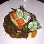 Salmon with brown lentils