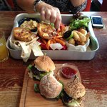 Sampler tray with mini burgers