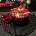 Ten Don - rice with vegetables tempura and shrimp tempura. Good job on this one.  Rice was per