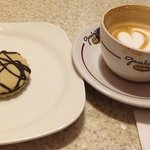 Their traditional cookie and cappuccino coffee
