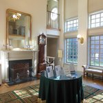 The reception area opens to a two story entry hall