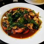 Miss Thailand,  Basil sauce, veggies, shrimp and scallops with steamed rice. Unbelievable Flavor