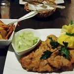 Wienerschnitzel with potatoes. Delicious!