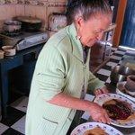 Aida preparing her delicious pancakes