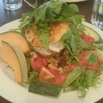 chevre salad and a burger behind