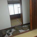 walkway to shower/room