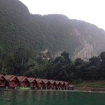 Saichon floating resort on a foggy morning