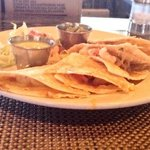 Shrimp quesadilla. Lacking in cheese, shrimp were nice size, green dipping sauce was odd.