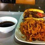 Buckhorn Tri-Tip Sandwich, au jus, and onion straws - tasty!