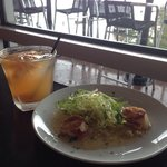 Scallops and peach sangria on the waterfront. Life is good!