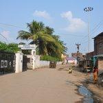 Hotel enterance.  Slum area