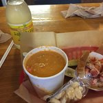 Lobster roll was delicious and very good. YUM
