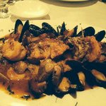 Zuppa di Pesce -Shrimp, scallops, fish, mussels, clams and calamari in a delicate seafood and to