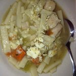 Our bowl of chicken noodle soup (with crackers in it)