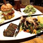 Steak, Hamburger and Salad