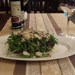Black Angus Beef Tenderloin with rocket salad,parmesan and balsamic vinaigrette.