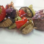 Beef Tenderloin with grilled vegetables.