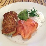 Corncakes, smoked salmon, poached eggs