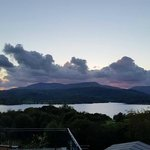 View from our balcony of sunset over Windermere