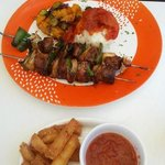 Springbok kebabs with side order of very special maize fries - try them!