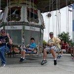 having fun on the swings