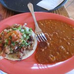 Taco and bean plate