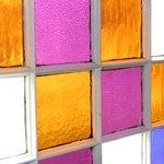 Main floor stained glass window in bathroom