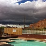 Awaiting an approaching storm by the pool