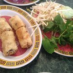 Egg rolls (they didn't offer vegetarian ones) delicious though...