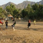 local kids playing soccer