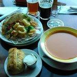 calamari tacos and tomato curry soup