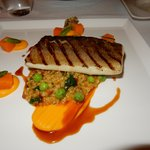 Grilled Pike Perch w Barley and Pumpkin