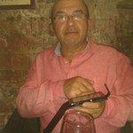 My Italian husband Rudi enjoying himself drinking plenty red wine and eating fantastic food, he